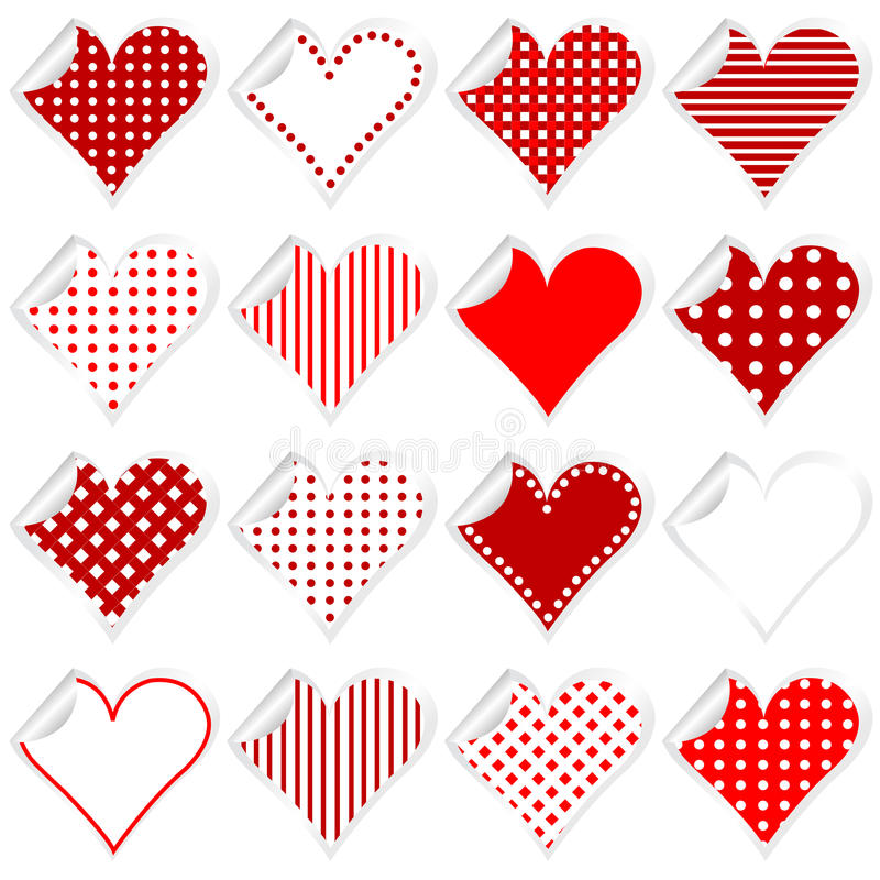Collection of cute hearts stickers with twisted corner stock illustration