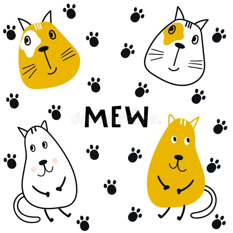 Collection of cute kids cartoon animal cats with trail and lettering. Set of wild characters in scandinavian style royalty free illustration