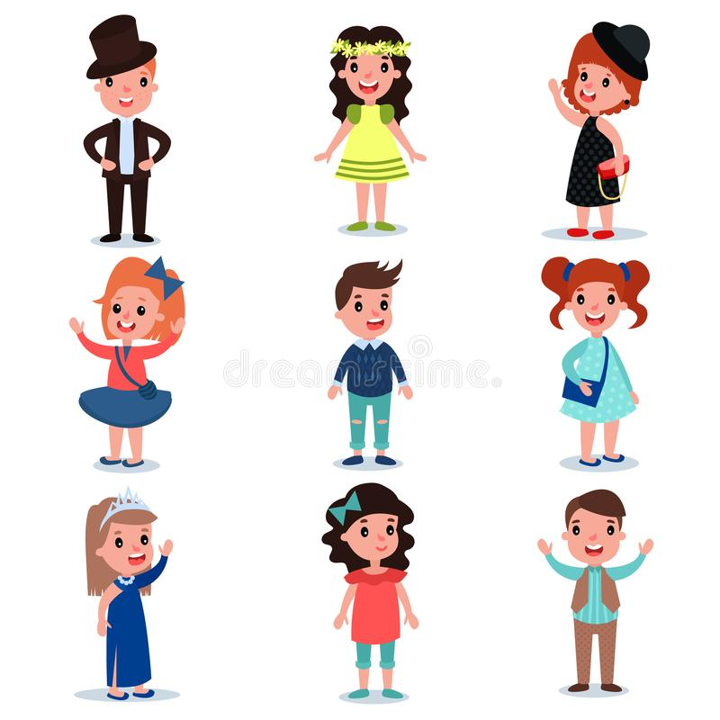 Collection of cute kids characters dressed up in stylish clothes. Fashion children wear. Cartoon boys and girl standing royalty free illustration