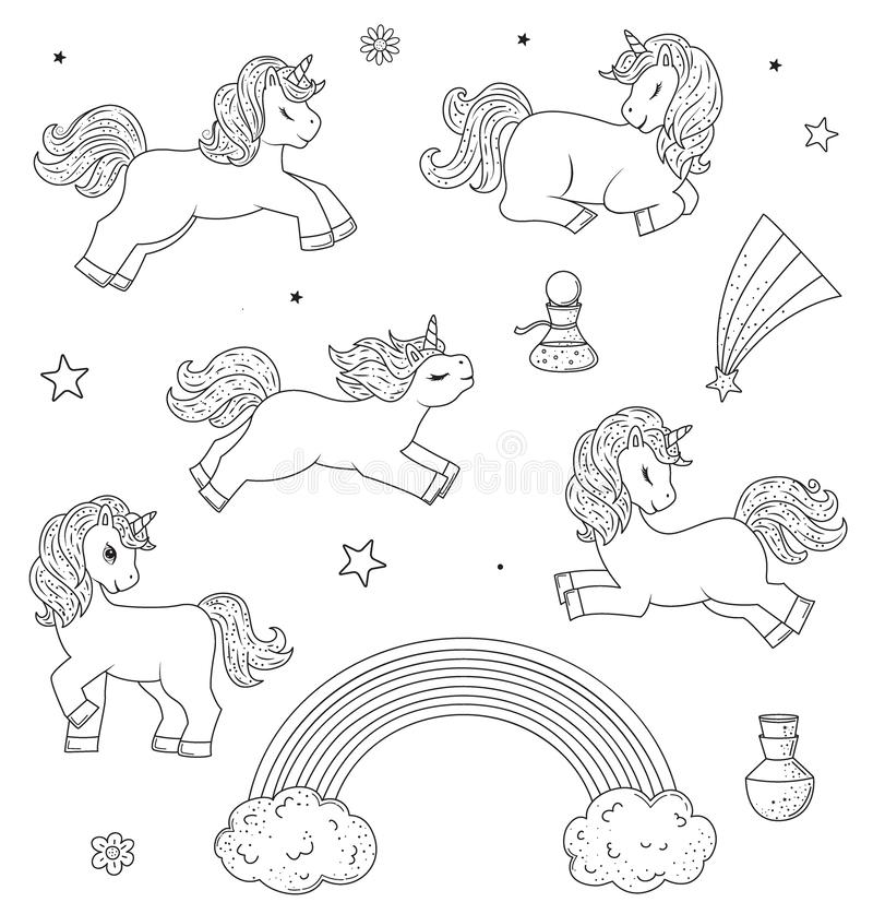 Collection of cute outline doodle unicorn sleeps. Hand drawn elements royalty free illustration