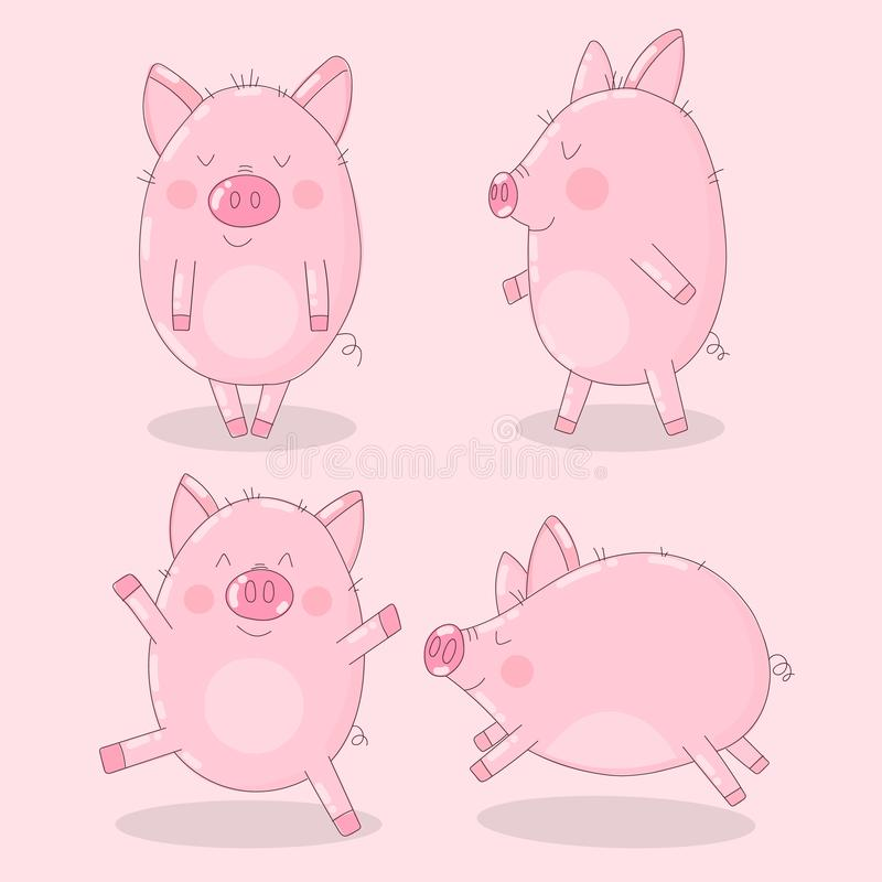 Collection of cute pigs on a pink background. Vector illustration for New Year, Christmas, prints, invitation, flyers, cards, chil. Dren, clothing, decor royalty free illustration