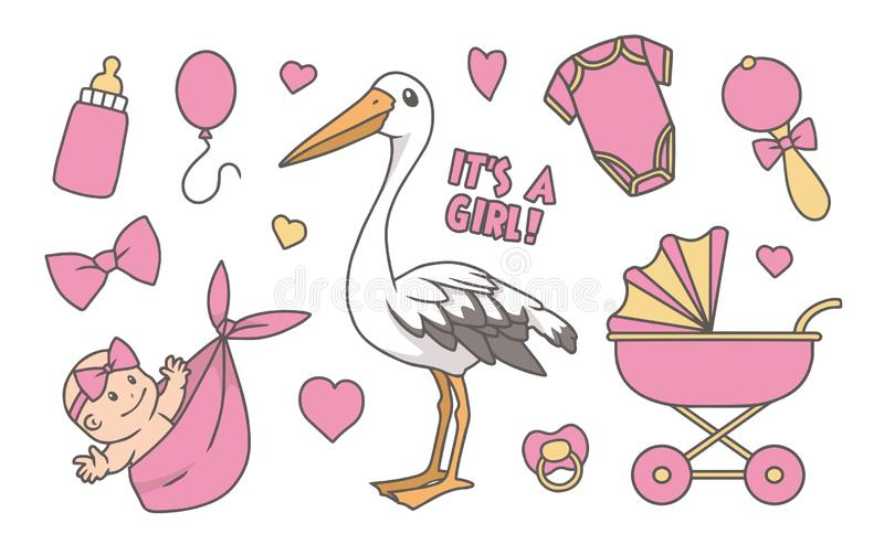 Collection of cute pink cartoon style illustrations for newborn baby girl, including stork, stroller, bottle and pacifier vector illustration