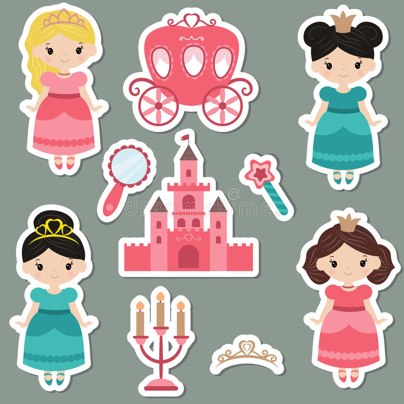 Download Collection Of Cute Princess Stickers Stock Vector