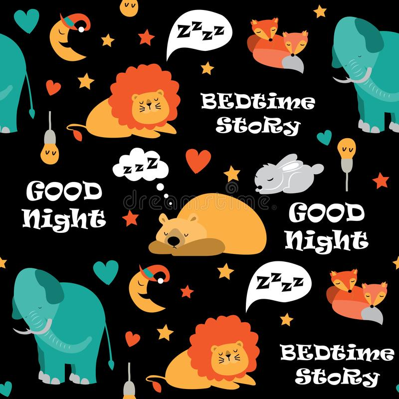 Seamless pattern with cute sleeping animals and moons, stars. Vector illustration vector illustration