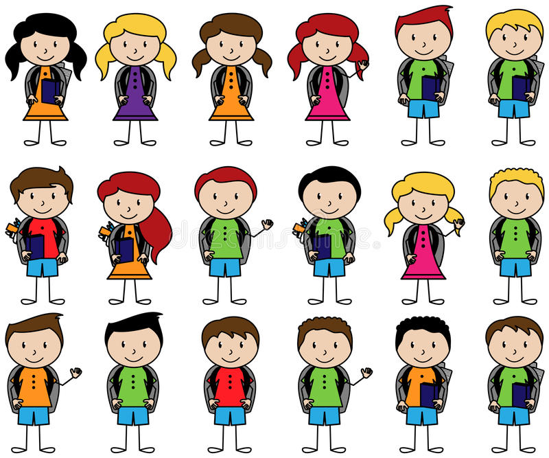 Collection of Cute Stick Figure Students in Vector Format vector illustration