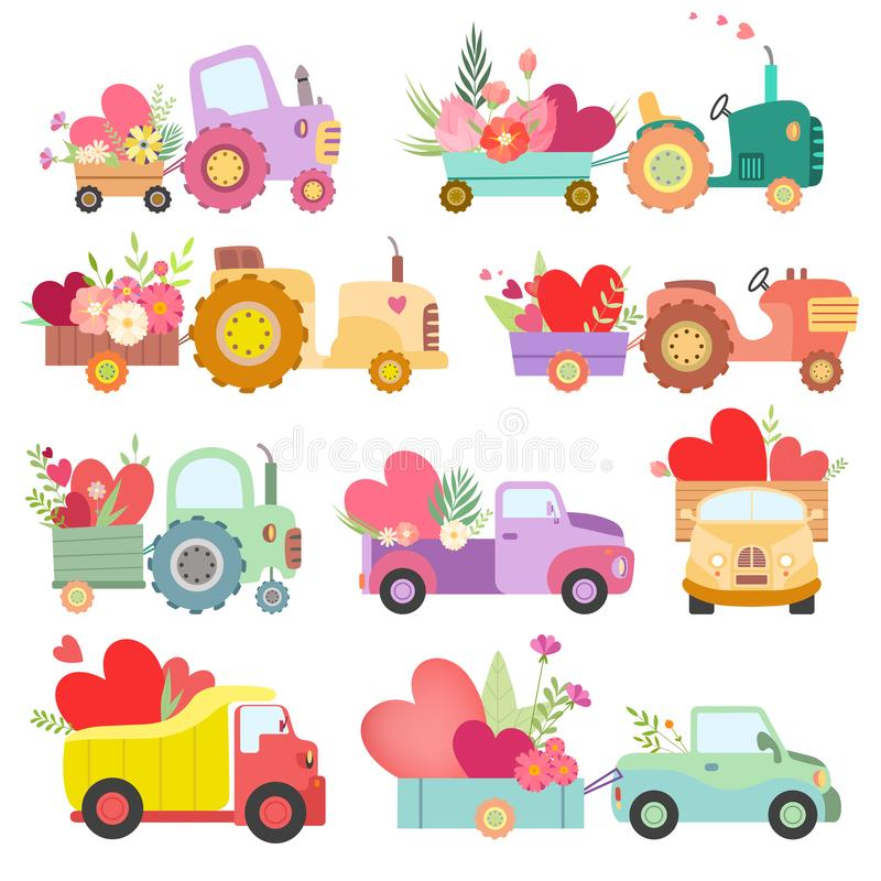 Collection of Cute Tractors and Trucks Full of Flowers and Hearts, Colorful Agricultural Farm Transport Vector vector illustration