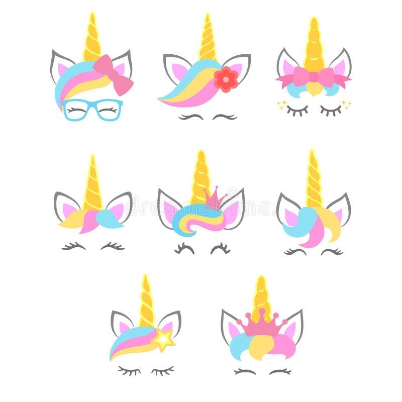 Collection of cute unicorn faces. Unicorn heads. Vector. Illustration stock illustration