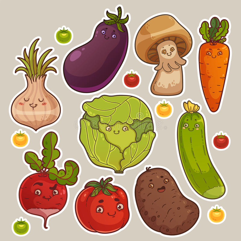 Collection of Cute Vegetable Stickers. Cute Colorful Cartoon Vegetable Set vector illustration