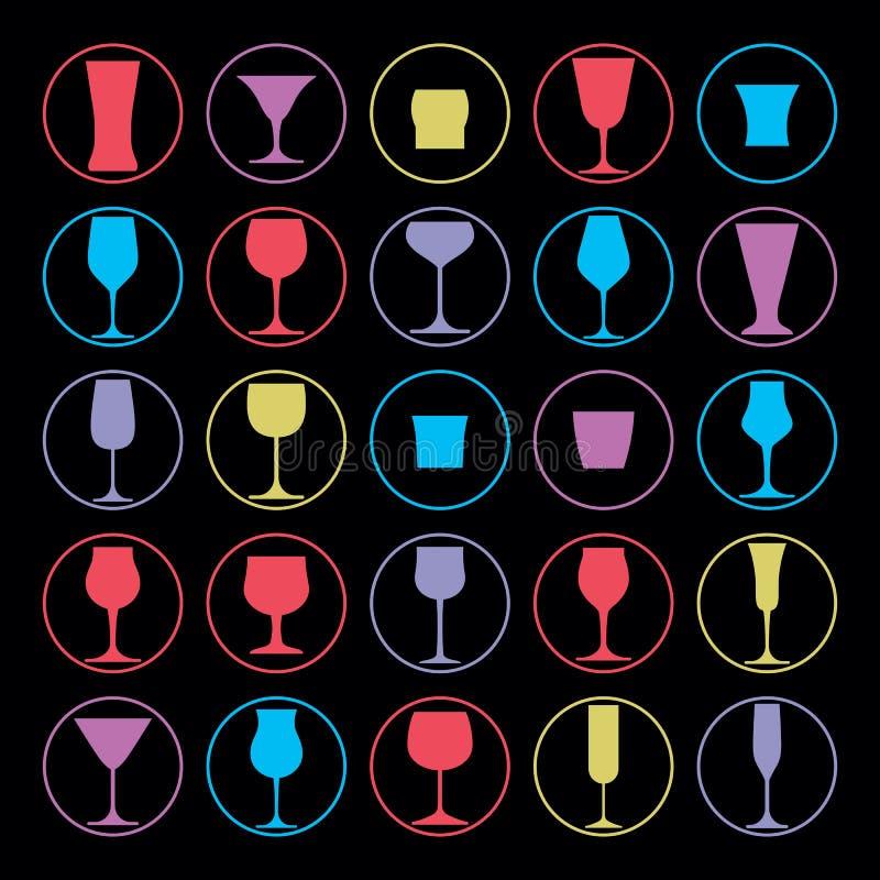 Collection décorative de verres à boire Ensemble de gobelets de vecteur illustration stock
