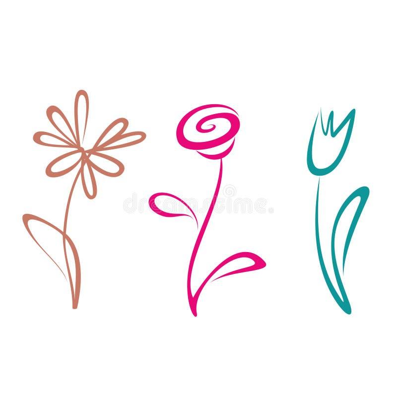 Collection décrite de fleur illustration libre de droits