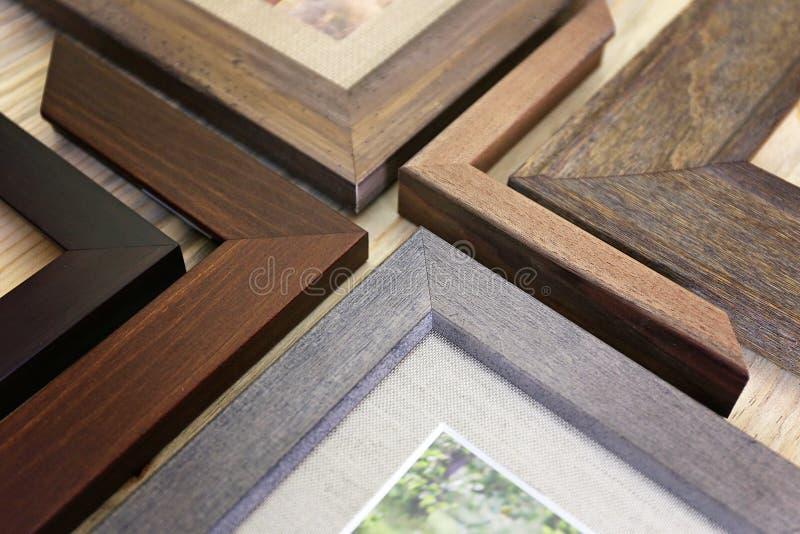 Collection d'échantillons de cadre de tableau en bois solide photo stock