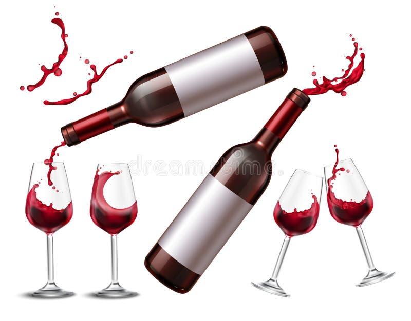 Collection d'éclaboussure de vin rouge illustration stock