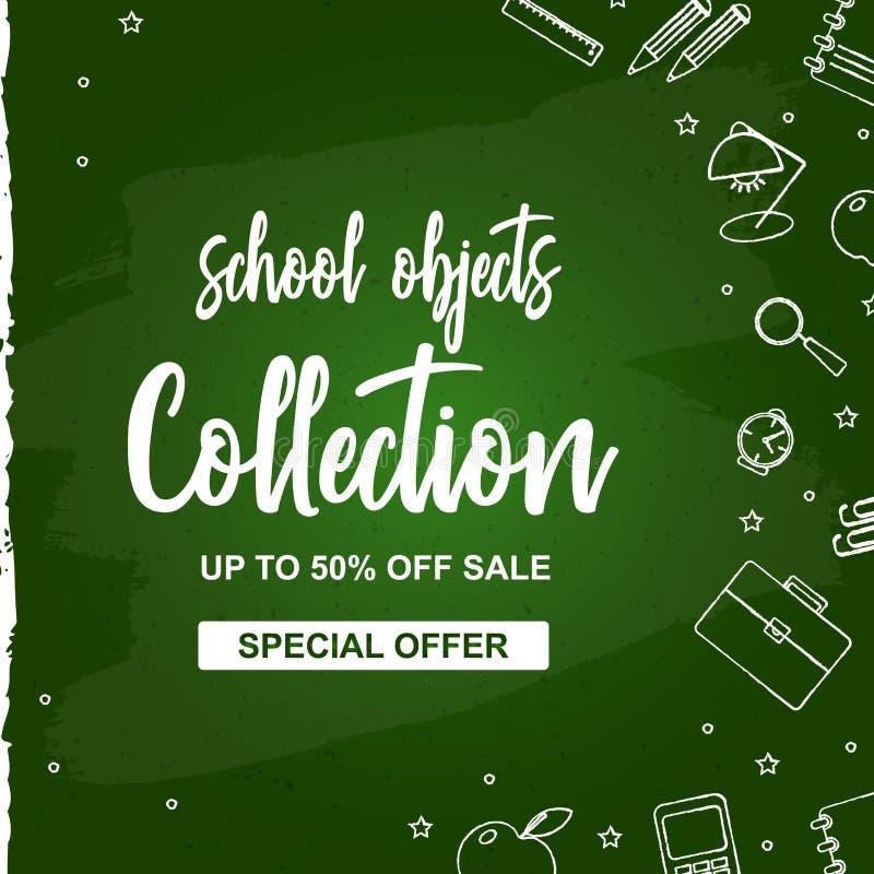Collection d'école de vente d'affiche illustration stock