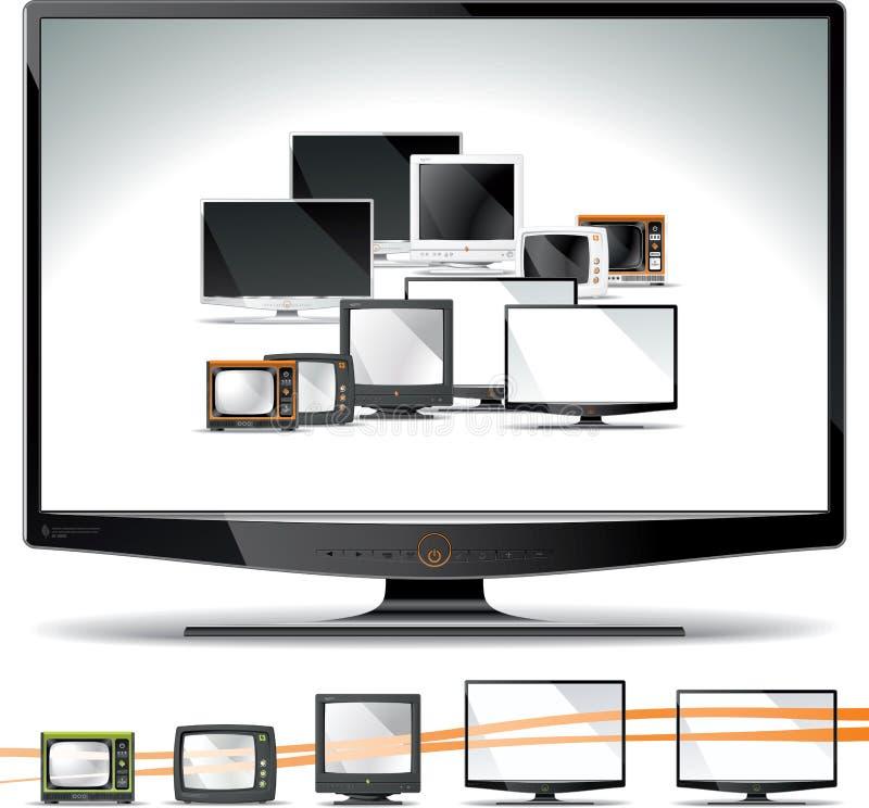 Collection d'écran d'ordinateur - tube, plasma, affichage à cristaux liquides, LED illustration libre de droits