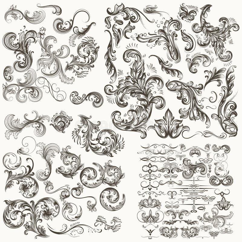 Collection d'éléments calligraphiques floraux décoratifs de vecteur illustration stock