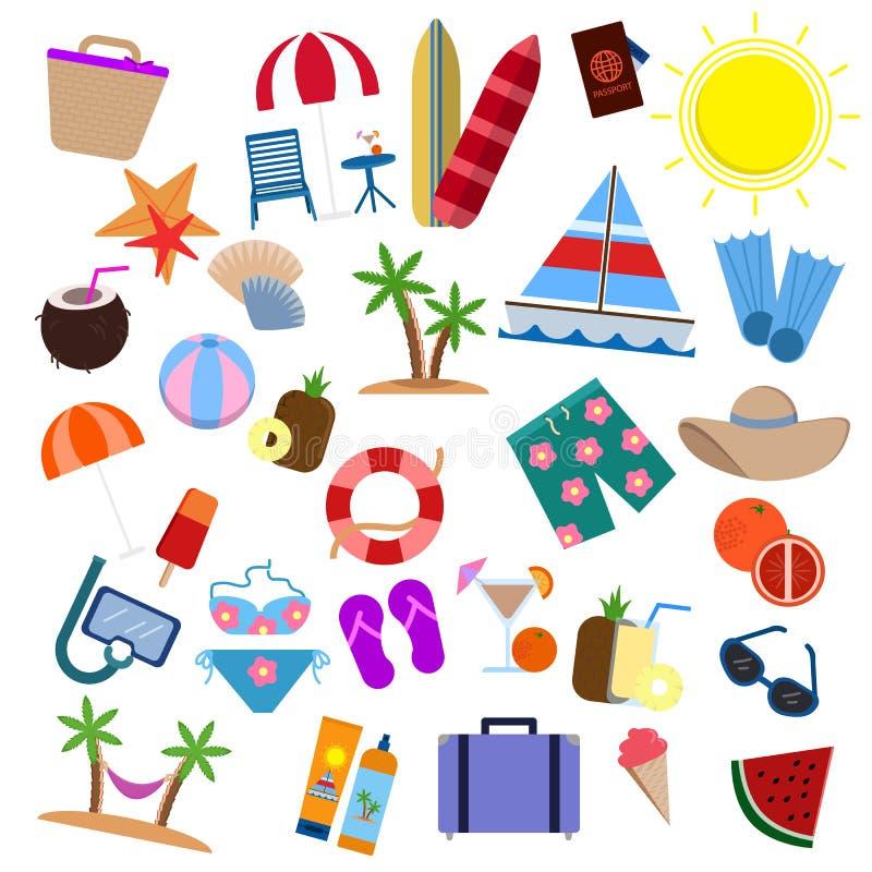 Collection d'éléments d'articles de voyage, icônes plates réglées illustration stock