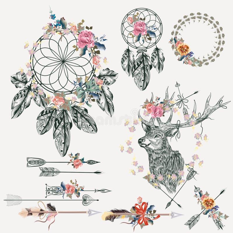 Collection d'éléments de Boho Cerfs communs, flèches, dreamcatcher, plumes a illustration stock