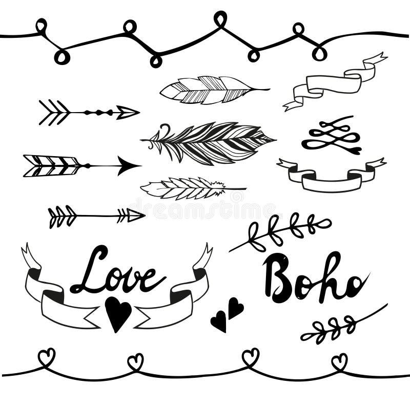 Collection d'éléments de conception de griffonnage de boho Vecteur illustration libre de droits