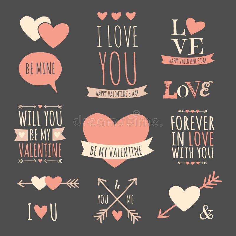 Collection d'éléments de conception de jour de valentines illustration stock