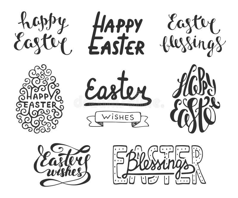 Collection d'éléments de conception de typographie de vecteur de Pâques pour les cartes de voeux, l'invitation, les recouvrements illustration libre de droits