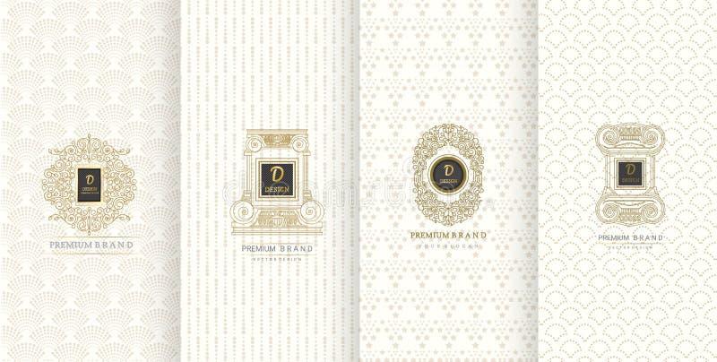 Collection d'éléments de conception, labels, icône, cadres, pour l'empaquetage, illustration stock
