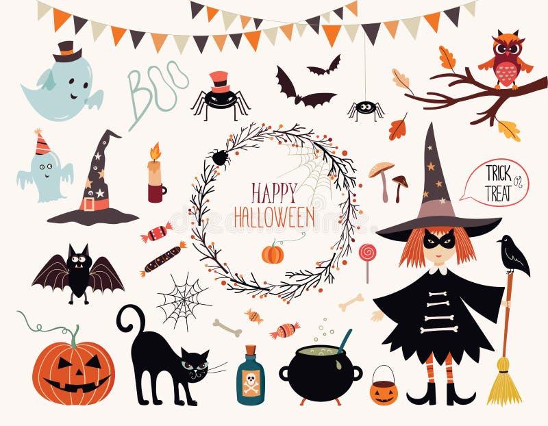 Collection d'éléments de Halloween illustration de vecteur