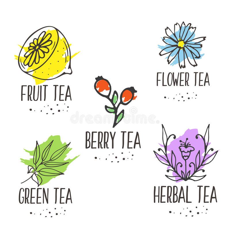 Collection d'éléments de logo de tisane Herbes organiques et fleurs sauvages illustration libre de droits