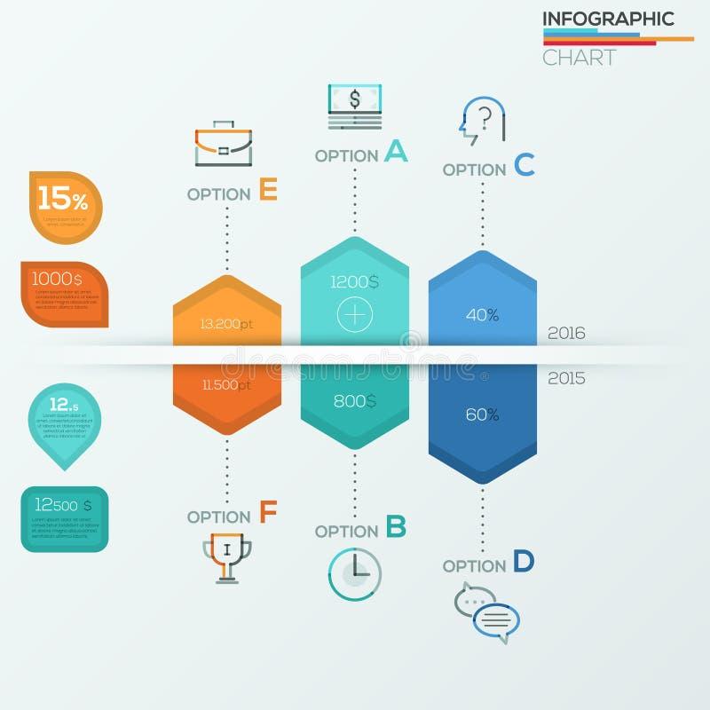 Collection d'éléments infographic de brochure pour la visualisation de données commerciales illustration stock