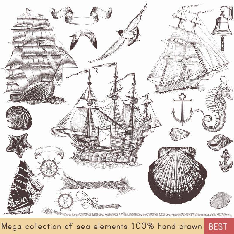 Collection d'éléments nautiques de vecteur sur le thème de la mer illustration libre de droits