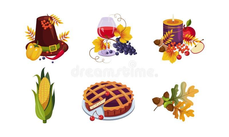 Collection d'éléments traditionnels de vacances de jour de thanksgiving, symboles d'automne, illustration de vecteur illustration stock
