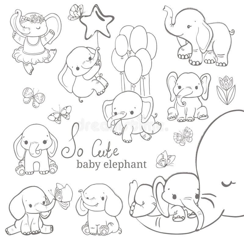 Collection d'éléphant de bébé au-dessus du fond blanc image stock