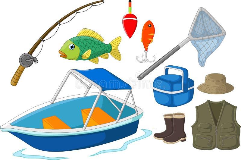 Collection d'équipement de pêche illustration de vecteur