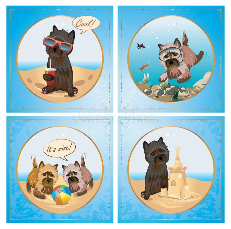 Collection d'été de Terrier illustration de vecteur