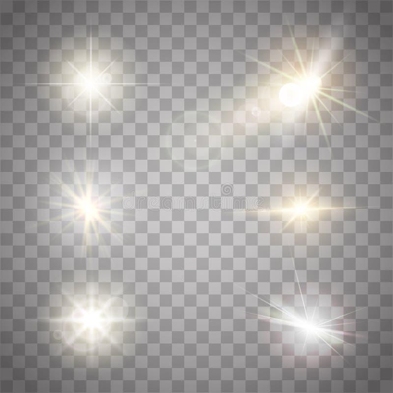 Collection d'or d'étincelles de lumières L'illustration de vecteur de la lentille rougeoyante évase, clignote et étincelle illustration de vecteur