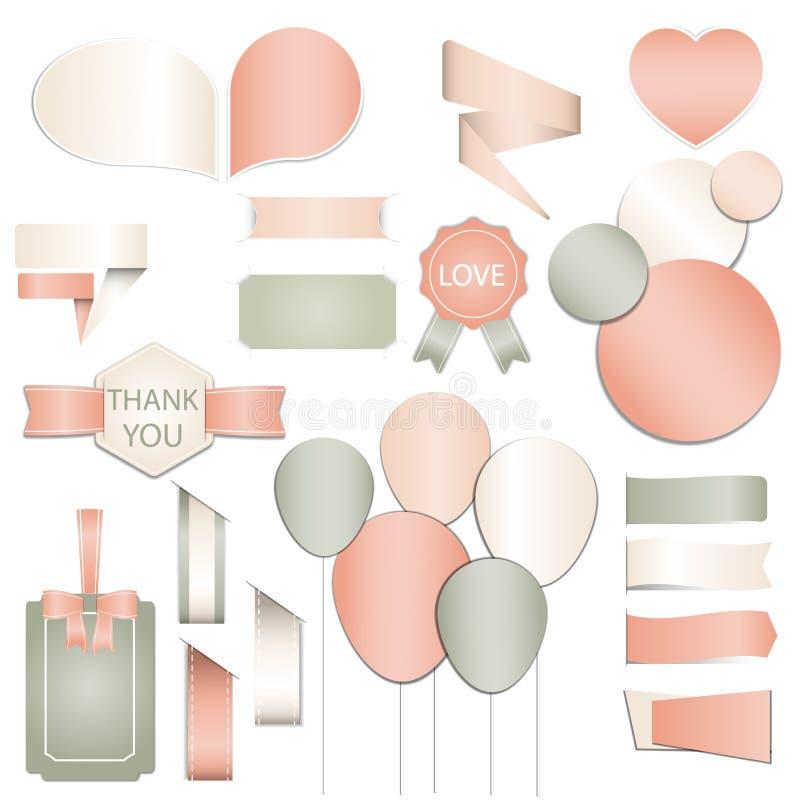 Collection d'étiquettes de cadeau de jour de valentines, autocollants et calibres de labels et beaux éléments modernes de vacance illustration libre de droits