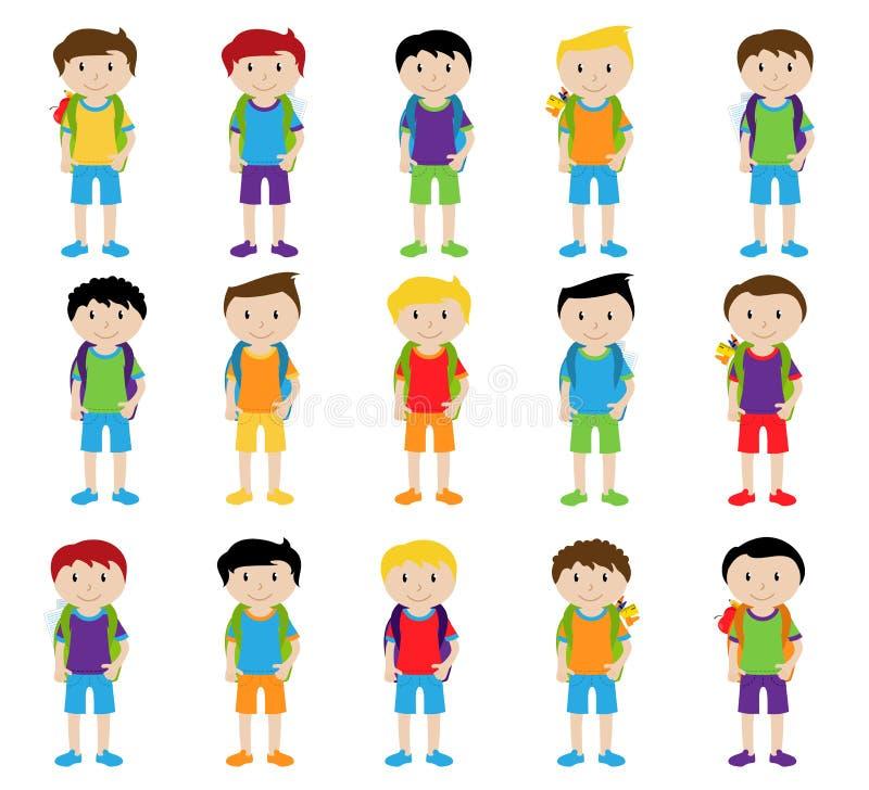 Collection d'étudiants masculins et d'enfants mignons et éthniquement divers illustration libre de droits