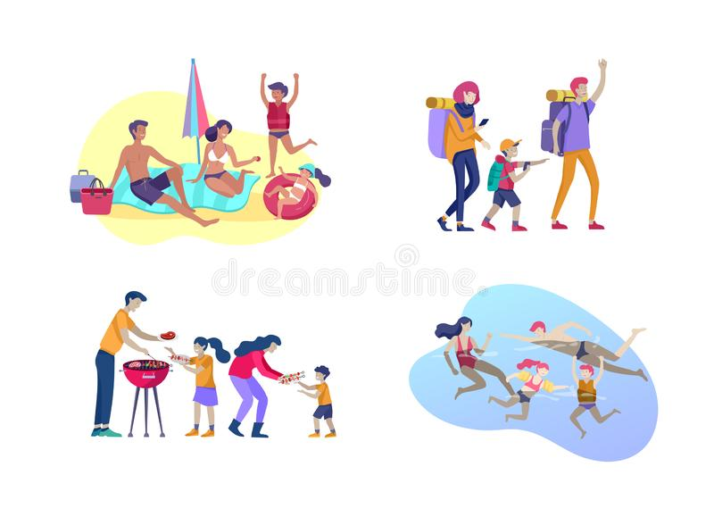 Collection d'activit?s de famille M?re, p?re et enfants prenant un bain de soleil, natation, augmentant, d?placement, pr?parant l illustration libre de droits