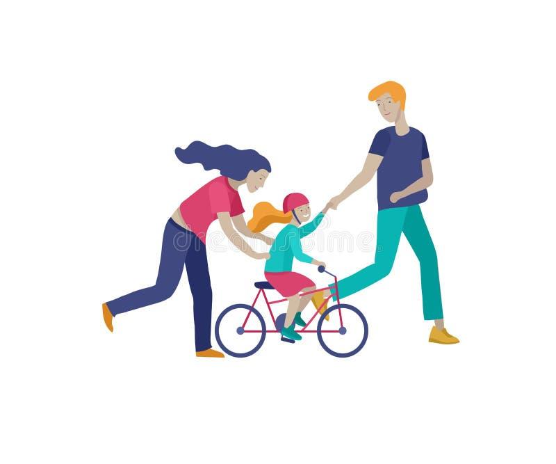 Collection d'activit?s de passe-temps de famille La mère, le père et les enfants enseignent la fille à monter le vélo ensemble Ve illustration de vecteur