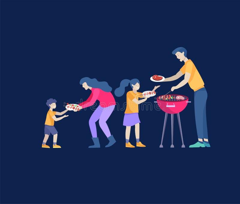 Collection d'activit?s de passe-temps de famille Mère, père et enfants préparant le barbecue ensemble Vecteur de bande dessin?e illustration libre de droits
