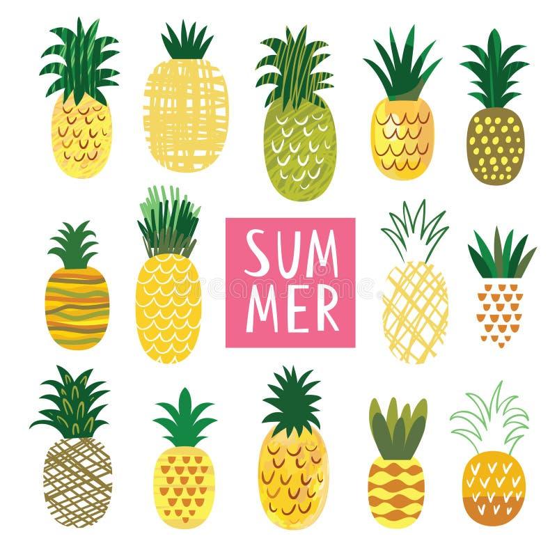 Collection d'ananas illustration libre de droits