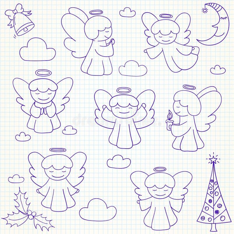 Collection d'anges et d'ornements de Noël de vecteur dans le St de griffonnage illustration de vecteur