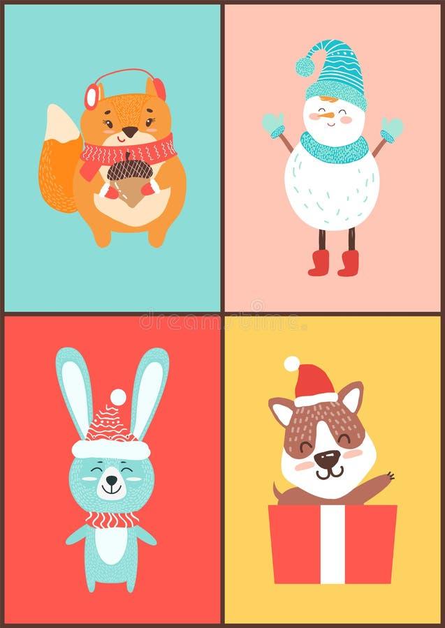Collection d'animaux de cartes sur l'illustration de vecteur illustration de vecteur