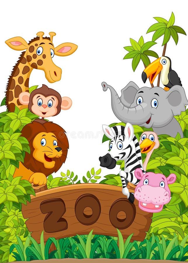 Collection d'animaux de zoo de bande dessinée illustration libre de droits