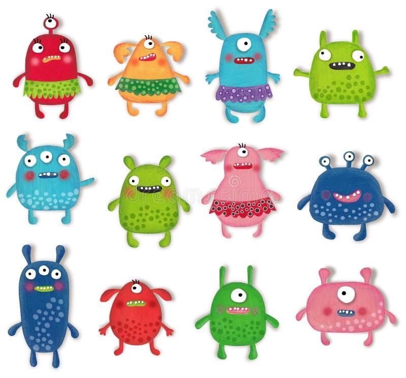 Collection d'animaux familiers de monstres Objets d'isolement par personnages de dessin animé au-dessus de blanc photographie stock libre de droits