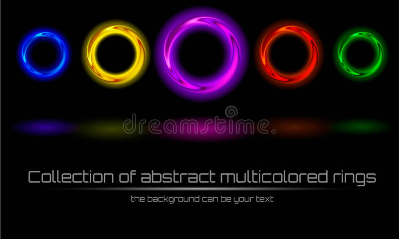 Collection d'anneau multicolore et coloré abstrait images stock