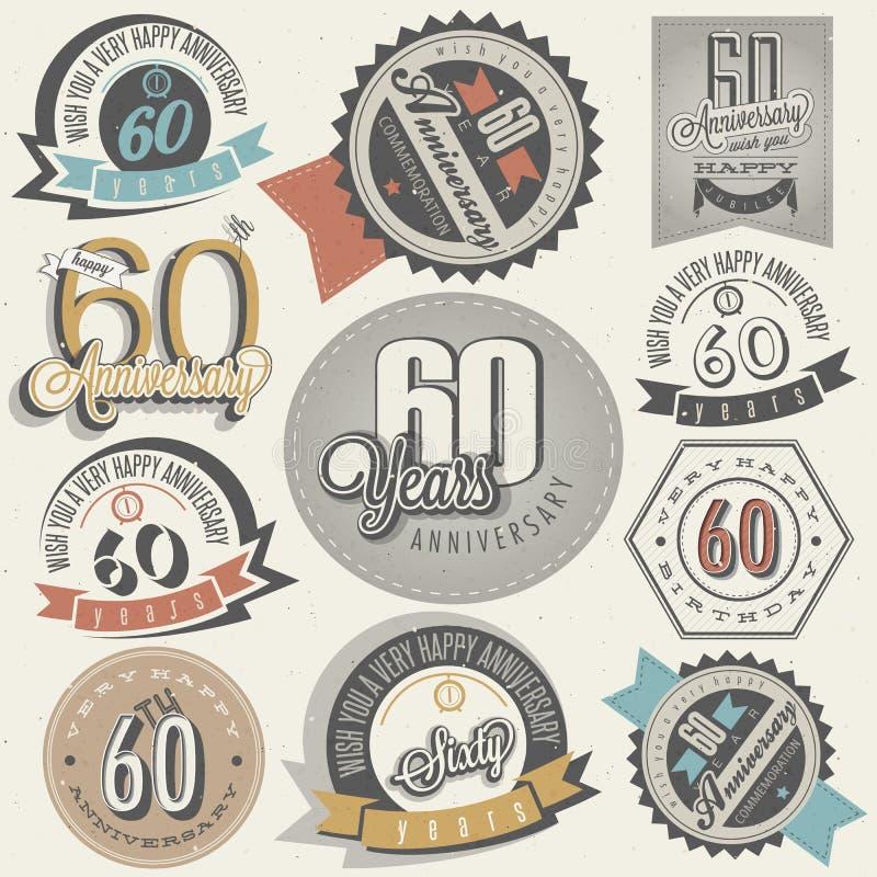 Collection d'anniversaire de style soixantième de vintage. illustration de vecteur