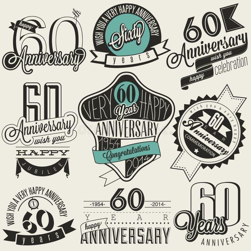 Collection d'anniversaire de style soixantième de vintage illustration stock