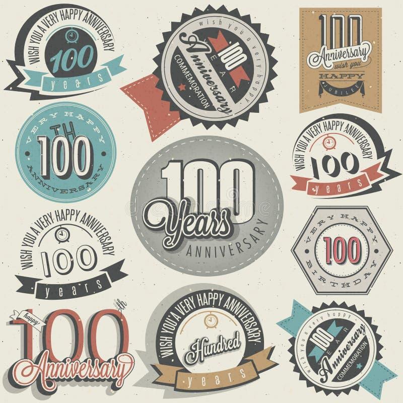 Collection d'anniversaire du style cent de vintage. illustration de vecteur