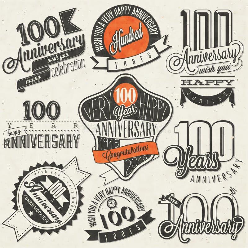 Collection d'anniversaire du style cent de vintage illustration de vecteur