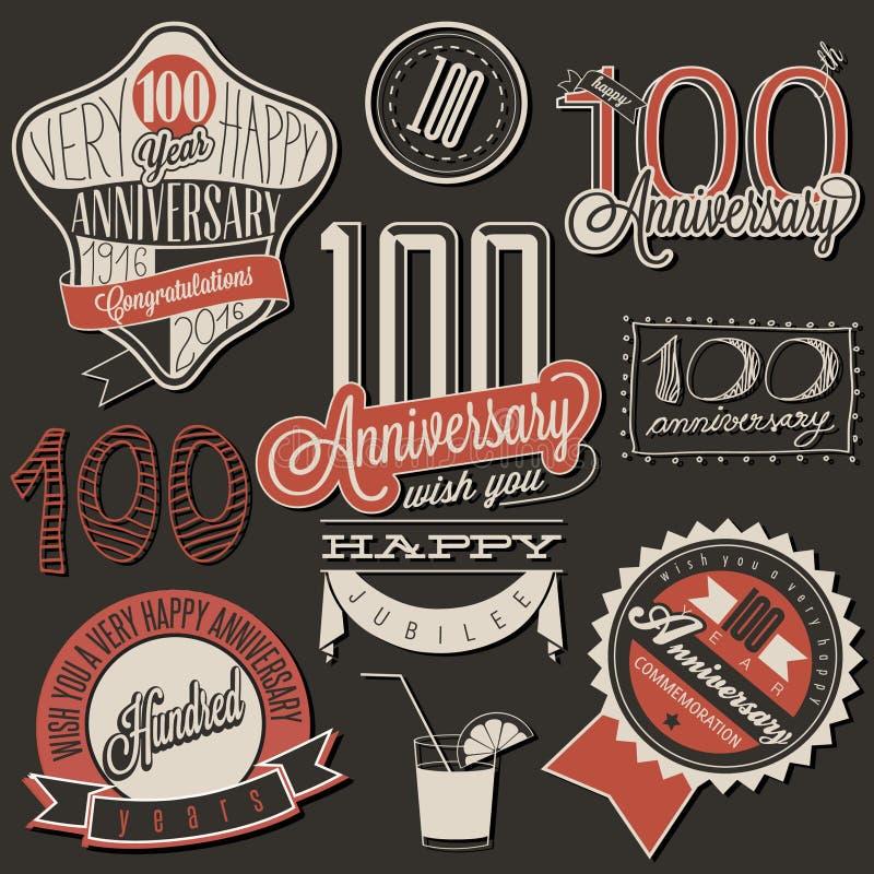 Collection d'anniversaire du style cent de vintage illustration stock